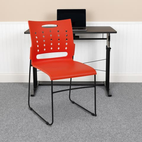 881 lb. Capacity Sled Base Stack Chair with Carry Handle and Air-Vent Back