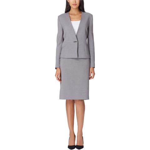 Tahari Womens Collarless One Button Blazer Jacket, Grey, 4