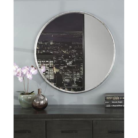 Copper Grove Encamp 30-inch Round Framed Wall Mirror