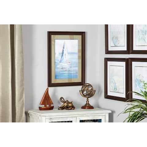 Blue Coastal Decor Sailboat Painting Print in a Rectangular Brown Wood Frame, 17.5 x 23.5 - 18 x 2 x 24