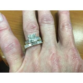 Annello 14k White Gold 1ct TDW Princess-cut Diamond Band