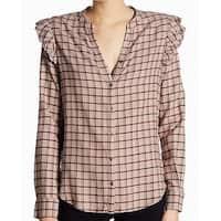 Paige Brown Womens Size XL Plaid Flutter Sleeve Button Down Shirt