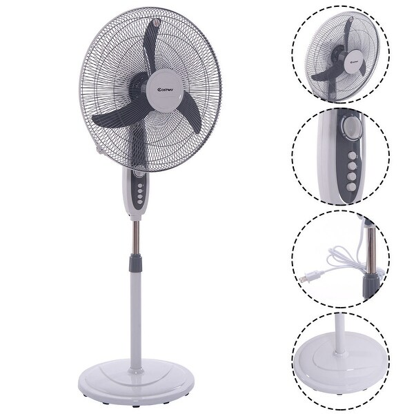 Costway 18'' Pedestal Fan 3-Speed Oscillating Stand Floor Manual Control Timer Swing Head