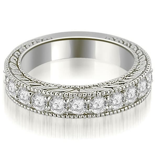 1.10 CT.TW Antique Prong-Set Round Cut Diamond Wedding Band in 14KT Gold - White H-I