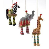 Elephant Zebra Giraffe Animals Dangle Legs Christmas Holiday Ornament Set of 3