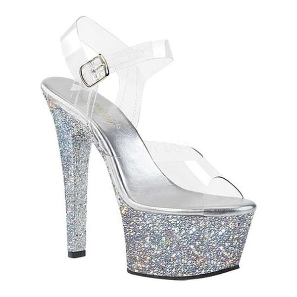 60385cad1f9 Shop Pleaser Women s Aspire 608LG Platform Sandal Clear Silver Multi Glitter  - Free Shipping Today - Overstock - 19552287