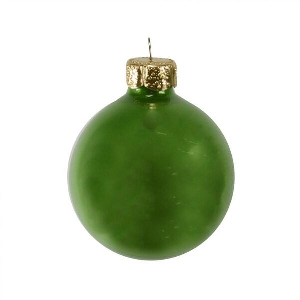 "12ct Green Pearl Finish Christmas Ball Ornaments 2.75"""