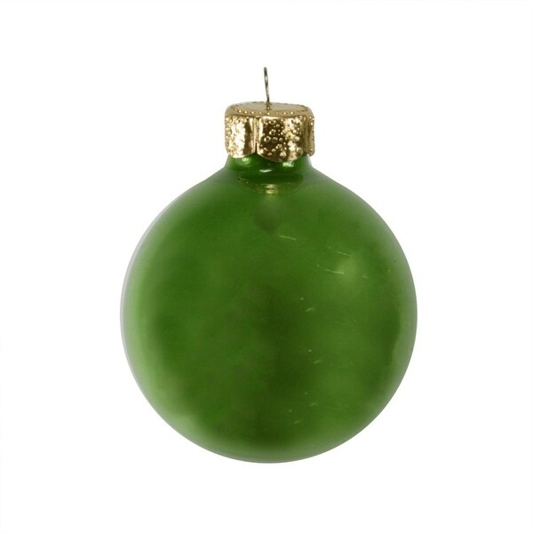 "40ct Pearl Soft Green Glass Ball Christmas Ornaments 1.5"" (40mm)"
