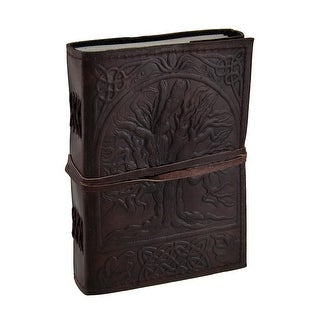 Embossed Leather Tree Of Life 120 Page Unlined Dream Book Journal - brown