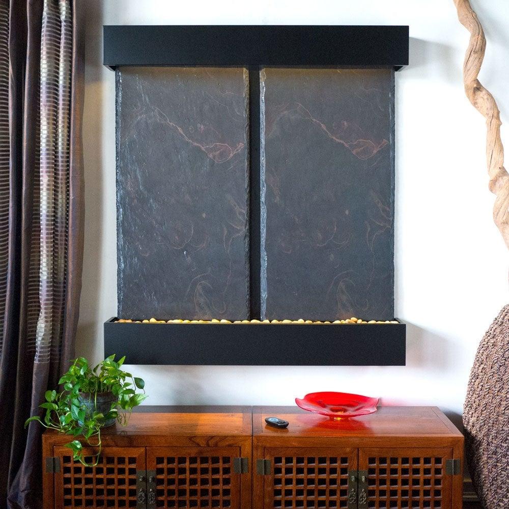 Nojoqui Falls Lightweight Double Panel Wall Fountain (Black Powder Coat) - Thumbnail 0