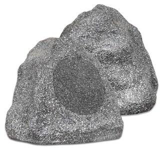 "Theater Solutions 2R8G Outdoor Granite 8"" Rock 2 Speaker Set for Yard Pool Spa"