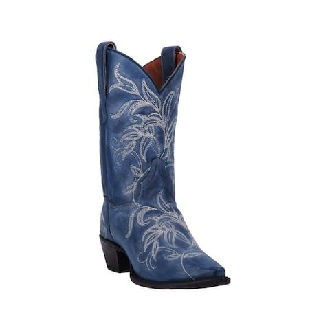 "Dan Post Western Boots Womens 10"" Shaft Nora Snip Toe Blue"