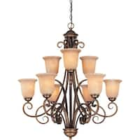 Dolan Designs 2092 9 Light Up Light Chandelier with Mojave Glass - English Bronze