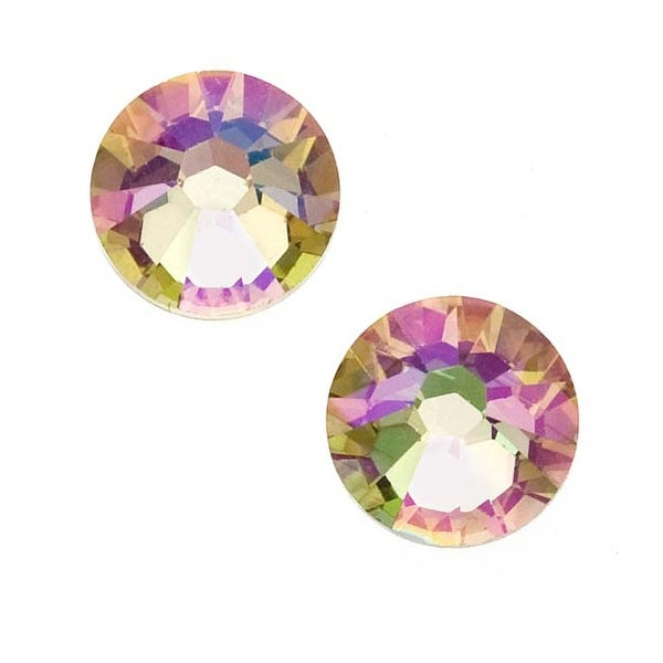 Swarovski Crystal, Round Flatback Rhinestone Hotfix SS34 7mm, 12 Pieces, Crystal Luminous Green