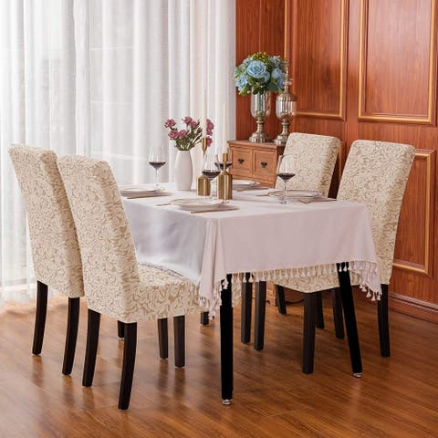 Subrtex Set-of-4 Stretch Dining Chair Cover Jacquard Damask Slipcovers
