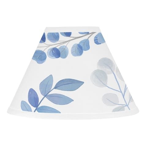 Floral Leaf Collection Lamp Shade - Blue Grey and White Boho Watercolor Botanical Flower Woodland Tropical Garden