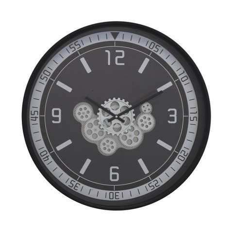 """Traditionalist 23""""D Black Clock with Open Moving Gears"""