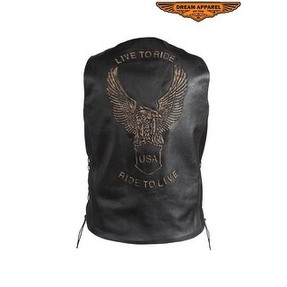 Mens Retro Black Leather Motorcycle Vest - Size - 46