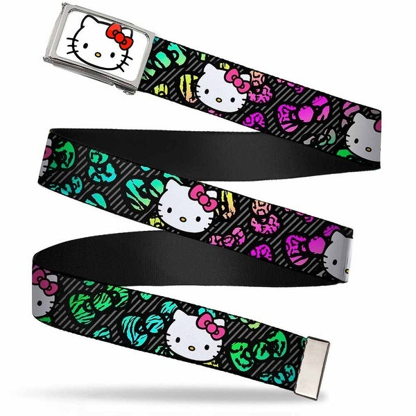 Hello Kitty Face Fcg White Chrome Frame Hello Kitty Face Pink Bow Web Belt