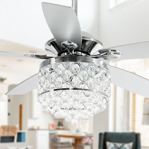Chrome/ Crystal 4-light Chandelier/ Ceiling Fan with Remote