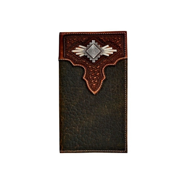 Nocona Western Wallet Mens Rodeo Laced Aztec Concho Med Brown - 6 3/4 x 3 3/4