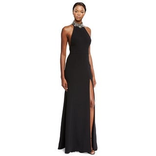 Marchesa Notte Embellished Crepe Halter Evening Gown Dress Black