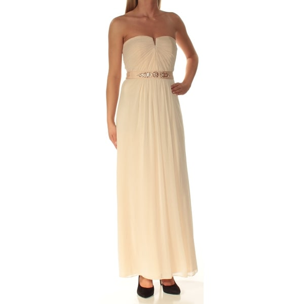 Womens Pink Embellished Strapless Maxi