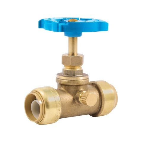 SharkBite 24635LF Push-To-Connect Stop Valve With Drain, Brass, 3/4""