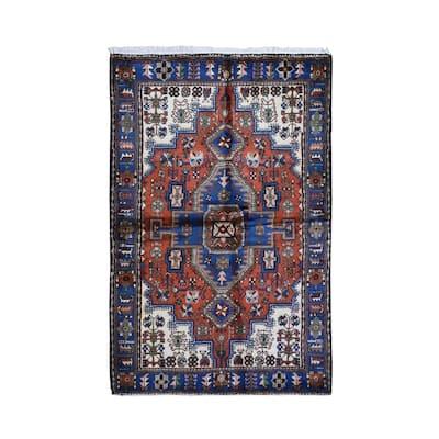 "Shahbanu Rugs New Persian Nahavand Orange Hand Knotted Organic Wool Oriental Rug (4'6"" x 6'10"") - 4'6"" x 6'10"""