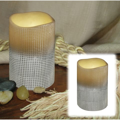 """4"""" Stone Gray Lattice Battery Operated Flameless LED Lighted Flickering Wax Pillar Candle"""