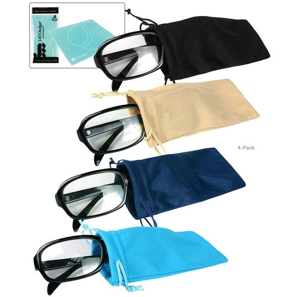 JAVOedge (4 PACK) Microfiber Drawstring Pouch for Eyeglasses, Sunglasses storage case and Bonus Free Cleaning Cloth