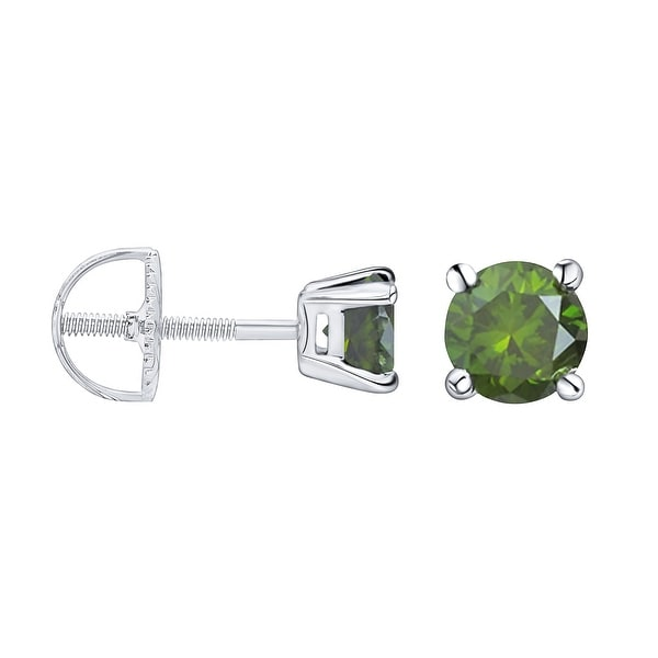 Prism Jewel 1/6 Ctw to 1 Ctw Round Green Color Diamond Solitaire Stud Earrings for Women. Opens flyout.