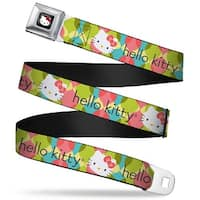 Hello Kitty W Red Bow Full Color Black Hello Kitty Face Ogee Stacked Green Seatbelt Belt