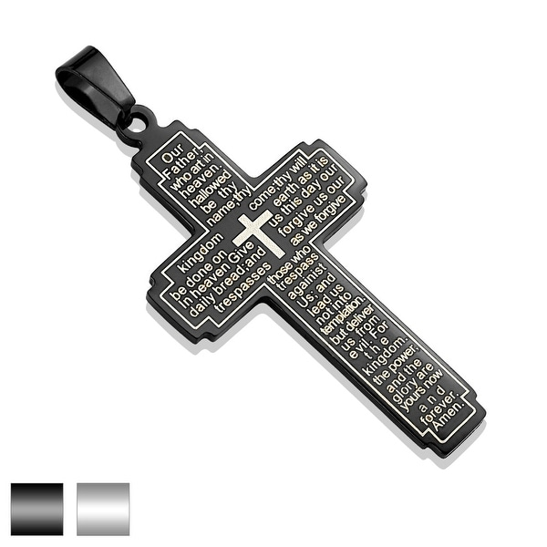 Lord's Prayer on Cross Stainless Steel Pendant (Sold Ind.)