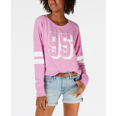 Material Girl Juniors Striped Graphic Sweat Orchid Size Extra Small - Pink - X-Small