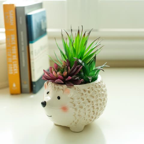 "Faux Succulent in 6"" Large Brown Hedgehog Ceramic Planter - ONE-SIZE"