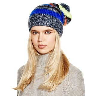 Aqua Ladies Navy and Gray Multi Striped Beanie With Pom Pom Made In Italy