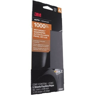 "3M 03001 Wet Or Dry Automotive Sandpapers, 3-2/3"" x 9"", 1000 Grit, 5/Pack"