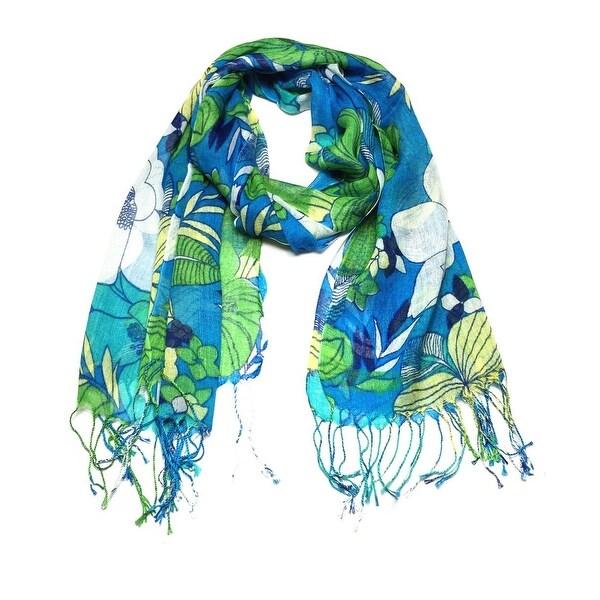 Women's Fashion Floral Soft Wraps Scarves - F10 Green Blue - Large