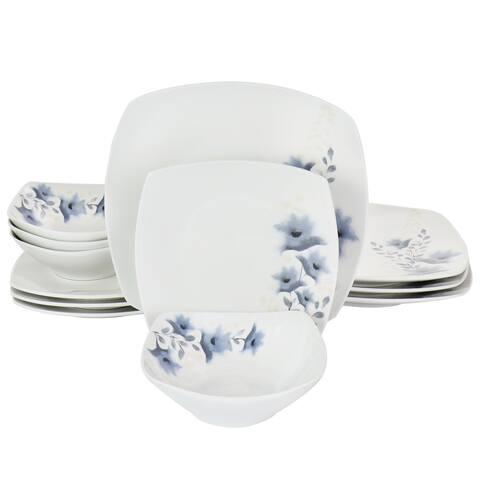 Gibson Home Evening Orchid 12 Piece Fine Ceramic Dinnerware Set