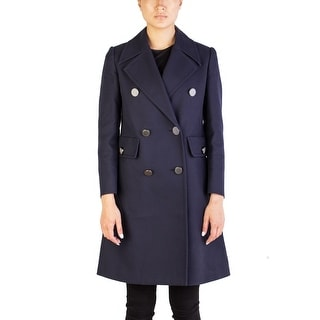 Miu Miu Women's Cotton Double Breasted Trench Coat Navy - 42