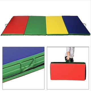 "4'x10'x2"" Gymnastics Mat Folding Panel Thick Gym Fitness Exercise Multicolor"