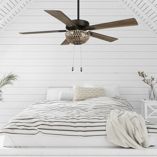 The Curated Nomad Carillon 52-inch Woven Rope 5-blade LED Ceiling Fan. Opens flyout.