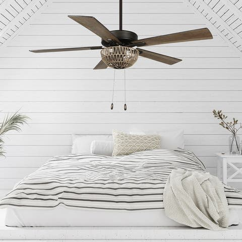 The Curated Nomad Carillon 52-inch Woven Rope 5-blade LED Ceiling Fan