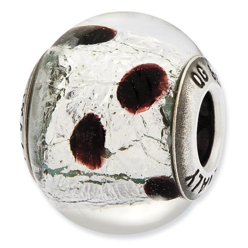 Italian Sterling Silver Reflections Silver & Burgandy Glass Bead