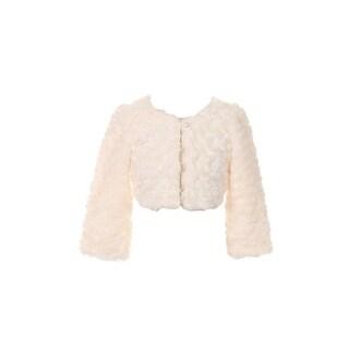 Kids Dream Little Girls Ivory Faux Fur Long Sleeve Pearl Bolero Jacket 2T-6
