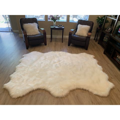 "Highland Select Natural Long Wool Sheepskin 6 Pelt Shag Rug - 5' x 5'5"""