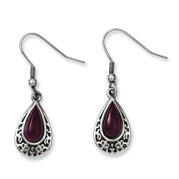 Chisel Stainless Steel Antiqued & Purple Cats Eye Teardrop Dangle Earrings