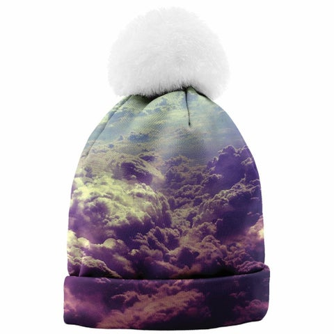 Women's Photo-Real Cloud Printed Winter Beanie Hat - One size