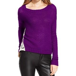 Freshman Womens Juniors Pullover Sweater Crop Lace Trim